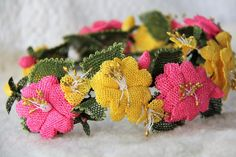 """""""Perihan: Fairy Queen"""" Pink and Yellow Bridal Headband"""