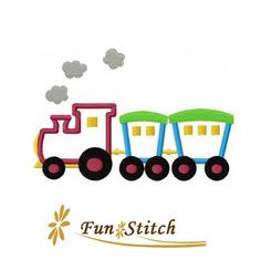 Train applique machine embroidery design