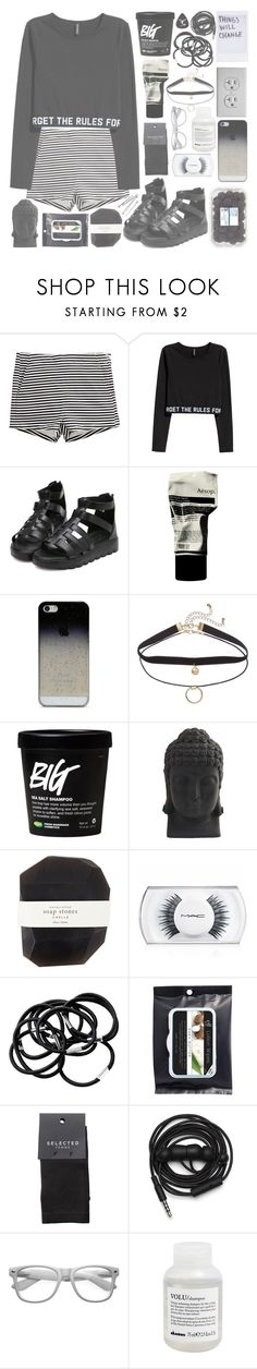 """""""⬜Not Without The Accidents, But I Got A Good Feeling⬜"""" by kwiatekmarek ❤ liked on Polyvore featuring H&M, Aesop, BlissfulCASE, Nearly Natural, Pelle, MAC Cosmetics, SELECTED, Urbanears, Retrò and Davines"""