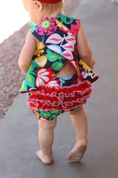 Pinafore & Ruffle Panties PDF Pattern Baby/Toddler on Etsy, $4.50 - I love the wrap back summer blouse / dress with the bloomers in this fun print!! Makes a cute retro style sunsuit