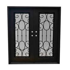 "$2795  Grafton Exterior Wrought Iron Glass Doors Castle Full Light Collection Black Right Hand Inswing/82""x62""/Flat Top"