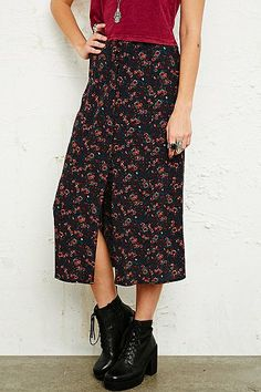Pins & Needles Button-Through Midi Skirt in Floral