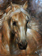 Animals Paintings - Head Horse 2 by Arthur Braginsky