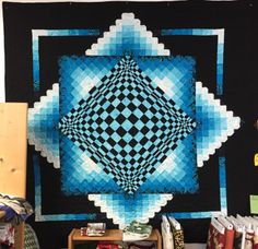 Optical Illusion Quilts, Optical Illusions, 3d Quilts, Mini Quilts, Graph Paper Art, Contemporary Quilts, Quilt Making, Quilt Patterns, Pattern Design