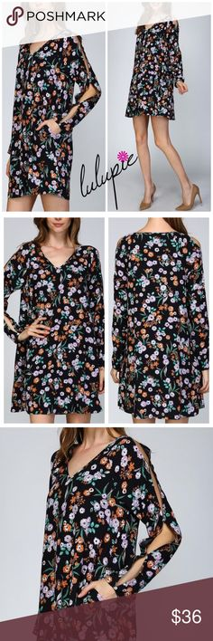 M-L Midnight Garden Floral Dress Garden Floral Split Sleeve A-Line Dress Woven V neck A line shift dress All over floral print Raglans style full length sleeves are split at top held together at 3 points Real shell button closure at sleeve cuffs Side seam pockets on either side Fully lined 100% rayon Lining is 100% polyester striped Bchic Dresses