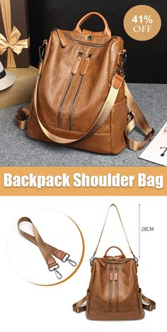 Travel Soft Solid PU Leather Backpack Large Capacity Multi-function 12ad3d8cc2281