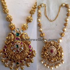 Left: Antique work gold beads long chain with floral theme and leafy theme embellished peacock pendant with rubies and emeralds all over. Gold Earrings Designs, Gold Jewellery Design, Necklace Designs, Gold Designs, India Jewelry, Temple Jewellery, Bridal Jewelry, Beaded Jewelry, Gold Jewelry