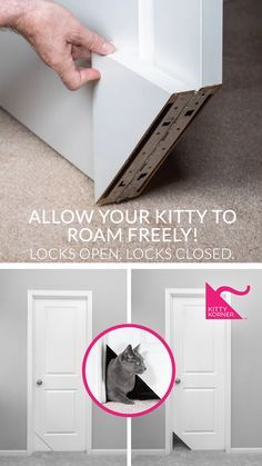 Allow your cat freedom or privacy. The Kitty Korner Door gives you the luxury of locking open and locking closed. Only $39.99 - follow the link to buy now! Diy Interior Cat Door, Cat Room, Animal Projects, Cat Tree, Cat Furniture, Litter Box, Home Projects, Home Improvement, New Homes