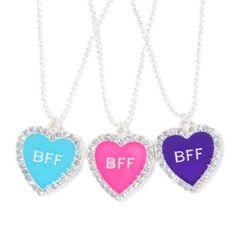 Three Best Friends Heart Pendant Necklaces