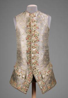 1750. British. silk, metal, linen. metmuseum Lien vers un article sur les vestes et gilets.