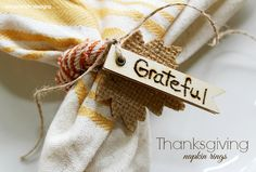 Create beautiful and simple Thanksgiving Napkin Rings with this step by step tutorial. Add your favorite words to each one to celebrate the season with family.