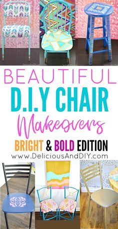 These collection of Beautiful DIY Chair Makeovers has a bit of everything from painted chairs, to reupholstered and stenciled chairs. These are a great way to add color in your home decor. Chair Makeover, Furniture Makeover, Diy Furniture, Furniture Projects, Office Furniture, Painted Furniture, Painted Chairs, Cool Chairs, Desk Chairs