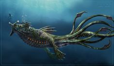 Sea Dragon Leviathan by (Jengineerr) Noita Kuningas /o/-\o\ Original post found here Subnautica Concept Art, Creature Concept Art, Creature Design, Subnautica Creatures, Mythical Creatures, Subnautica Sea Dragon, Sea Dragon Leviathan, Leviathan Tattoo, Dark Fantasy