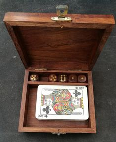 Vintage De La Rue Empire Card Co Playing Cards With Doily Ace Of Spade In Vintage Wooden Playing Card Box With Inlaid Brass And Wooden Dice by OnyxCollectables on Etsy