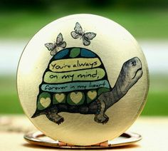 Turtle locket- necklace, butterfly, heart, blue, green, brass, image, art, print, original, drawing, image locket