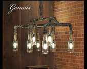 Genesis - Industrial Steampunk Chandelier Beer Bottle Light Fixture - Featuring Upcycled and Repurposed Gas Plumbing Pipe
