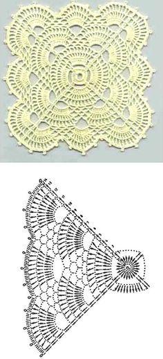 crochet patterns  ✿Teresa Restegui http://www.pinterest.com/teretegui/✿piccolo centro quadrato con schema *
