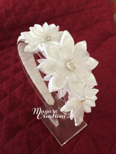 White girl headband,kanzashi headband,baptism headband,1st. communion headband,hair accessories,women headband,toddler headband,100