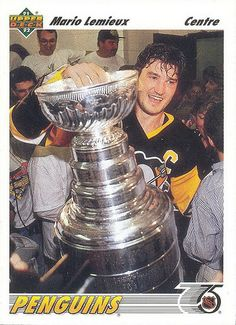 Mario Lemieux - Player's cards since 1985 - 2016 Ice Hockey Players, Nhl Players, Hockey Cards, Baseball Cards, Mike Bossy, Mario Lemieux, Hockey World Cup, Player Card, The Time Machine