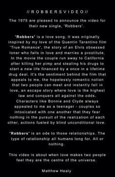 matty healy's explanation of robbers