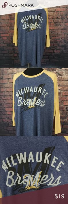 """NWT Milwaukee Brewers Shirt Womens Extra Large XL NWT Milwaukee Brewers Shirt Womens Extra Large XL Blue Gold 3/4 Sleeve Baseball C23:20:P3.87:L33:15-20  Item Dimensions (Approximately):  24"""" - Pit to Pit 32"""" - Item Length (Front Side Neckline to Bottom) Questions? Please ask, I try to respond immediately!   I ship daily to get you your item ASAP!   Just a common guy bringing you great deals, superb customer service is my goal.  -Cooper @ CoopsThrifts MLB Tops Tees - Long Sleeve"""