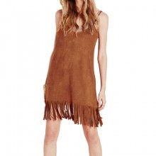 Slim Backless Tassels Suede Fabric Sleeveless Strap Vest Dress