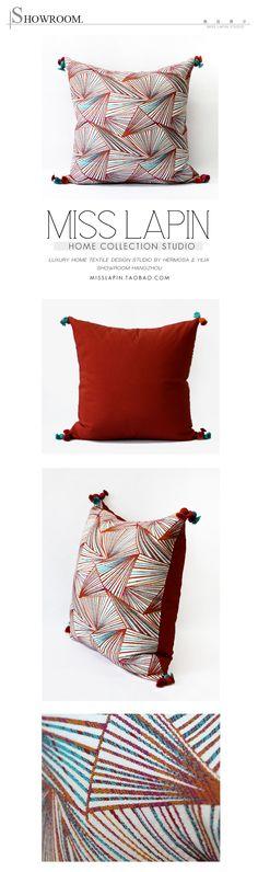 MISS LAPIN澜品家居/东南亚/沙发床头高档抱枕设计师/变幻几何图案流苏方枕 pillow /cushion /cushion cover-淘宝网