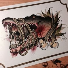 Done by Heath Clifford. Skull Tattoos, Animal Tattoos, Body Art Tattoos, Sleeve Tattoos, Neo Tattoo, Tattoo Motive, Tattoo Sketches, Tattoo Drawings, Louisiana Tattoo