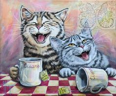 Martine Coppens – present, Belgian) at The Great Cat I Love Cats, Crazy Cats, Cute Cats, Funny Cats, Photo Chat, Cat Cards, Cat Drawing, Beautiful Cats, Animal Drawings