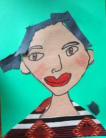 First grade self portraits, kids self portrait lesson, kinder self portraits