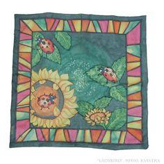 Silk Scarf shawl Hand Painted ladybug sunflowers by KsaveraART, €60.00