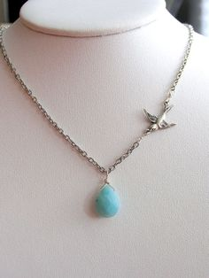 Feathered Friend Necklace--Silver and Amazonite for $36.00 at etsy.com