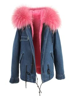 Gorgeous denim parka jacket with light pink color fur collar and faux fur lining. Our parkas are stylish and versatile for colder and warmer weather. Plush faux fur lining can be removed and worn as a