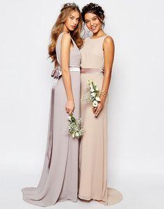 Image 3 ofTFNC WEDDING Sateen Bow Back Maxi Dress