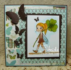 Hand made card by Heide D's Paperie using Just Some Lines - Fairy - 4 leaf clover 4 Leaves, Leaf Clover, Stamps, Fairy, Create, Sweet, Cards, Handmade, Seals