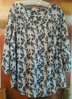 PLUS SIZE 2X ABSTRACT IKAT FLORAL  3/4 SLEEVES SONOMA BOHO TUNIC TOP PEASANT  #Sonoma #Tunic #Casual