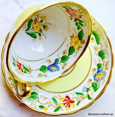Old England Royal Chelsea Staffs Yellow Handpainted Floral Art Nouveau Tea Cup and Saucer Cup And Saucer Set, Tea Cup Saucer, Art Nouveau, Vintage Dishes, Vintage Teacups, China Tea Cups, Teapots And Cups, Rose Tea, Chocolate Pots