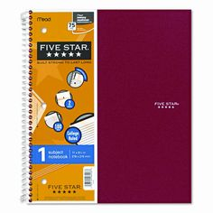Five Star Wirebound Notebook, College Rule, 3-Hole Punch, Poly Cover, 1 Subject 100 Sheets