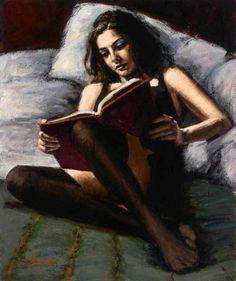 Woman reading in bed - Fabian Perez Fabian Perez, Reading Art, Woman Reading, Reading In Bed, Tableaux Vivants, Woman Painting, Erotic Art, Figurative Art, Oeuvre D'art