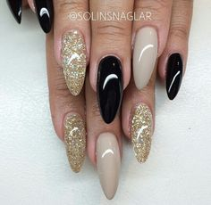 Black.gold glitter.nude nails
