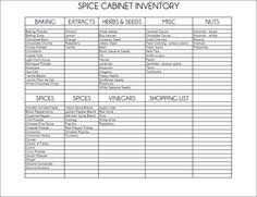 Printable: spice cabinet inventory