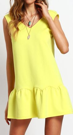 Volants V Cou Dos Nu Baisse Taille Égant Mini Robes 2016 New Casual Summer Style Sexy Robe Bright Dress, Yellow Dress, Casual Dresses, Summer Dresses, Mini Dresses, Dresses 2016, Sheath Dresses, Mini Robes, Drop Waist