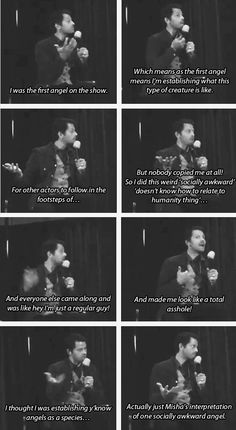 But we love Misha's interpretation of one socially awkward angel!