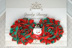 Christmas Headband, Baby Headband, Baby Christmas Outfit, Little Girl Holiday Hair Accessory, Red and Green Headband, Toddler Headband by SpunkyBunny