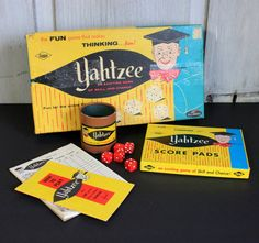 vintage yahtzee game // 1956 1960s // retro toy by umbrellafant, $10.00