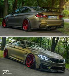 BMW Z-Performance F82 M4 matte green slammed