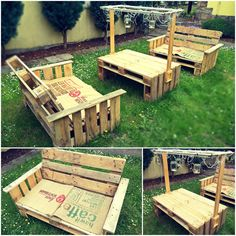 Garden furniture made from old pallets. These garden furniture's were built by me. I need 3 hours to complete it. The hardest part was to sand them.