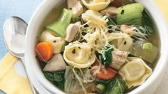 Slow Cooker Chicken and Vegetable Tortellini Stew -- Put your slow cooker to use in a hearty stew with a twist--cheesy tortellini added near the end of the cooking time. Slow Cooker Recipes, Crockpot Recipes, Soup Recipes, Cooking Recipes, Cooking Time, Dinner Recipes, Yummy Recipes, Dinner Crockpot