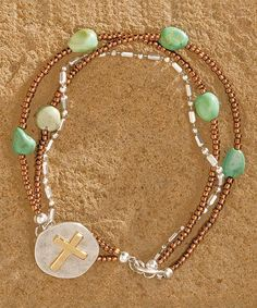 Loving this Big Sky Silver Two-Tone & Turquoise Beaded Cross Bracelet on #zulily! #zulilyfinds