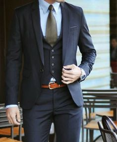 Navy 3-piece suit + olive green